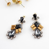 Wholesale Fashion Flower Designer Colorful Created Gemstone Geometric Statement Earrings for Women