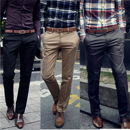 Wholesale Details about Korean Fashion Men s Casual Solid Long Trousers Joker Slim Fit Straight Pants