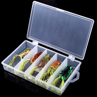 Wholesale 2014 NEW Frog Lure Fishing Soft Plastic Baits Hook with Fishing Tackle Lure Box H10473