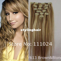 Wholesale INCHES REMY CLIP IN HUMAN HAIR STRAIGHT Light brown and bonde