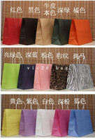 Paper Drawstring Kraft Paper Free shipping . Wholesale 15 colors Kraft paper bag with handles , Fashionable gift paper bag,size:33*26*12cm 100piece\lot)