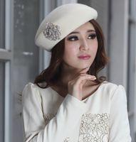 Wholesale Elegant Winter Wool Handmade Felt Stingy Brim Warm Hats Women Caps Wool White Orange Color Windproof Derby Wedding Party Working Hats