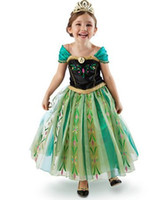TuTu Summer A-Line Wholesale -Fashion Frozen Princess Elsa anna short Sleeve Dress Children Gauze Baby Girl party princess Birthday lace Tutu Dresses LY-346-2
