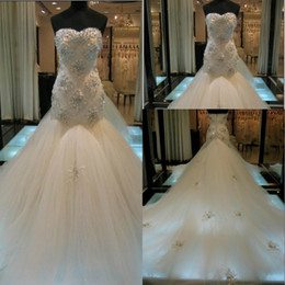 Wholesale Best Selling Amazing Crystal Mermaid Wedding Dresses Beaded Tulle Luxury Cathedral Train Bridal Party Gowns Custom Cheap Real Pictures