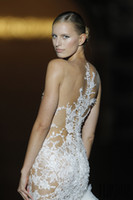 french lace - 2015 Scoop Sheer lace Neck Tulle Mermaid Sleeveless Summer French Lace Appliques Ivory Beach Wedding Dresses Floor Length Covered Button