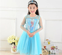 Wholesale 2014 Fashion New Girls Frozen Dress Big Children girl Frozen Princess Elsa Dress Children Cartoon Dress