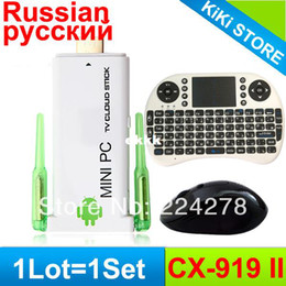 Wholesale Cx 919 Android Quad Core - Wholesale-1Lot = 1pcs Russian Keyboard + 1pcs Air Mouse + 1pcs CX-919 II Android TV Box 2GB 8GB Quad Core Strong Wifi TV Dongle Stick