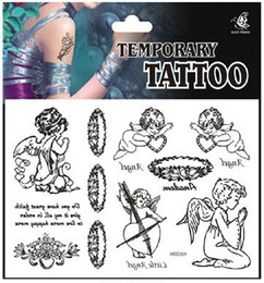 Wholesale waterproof tattoo sticker D black and white angel wings tattoo punk tatoo fake tattoo drawing DIY temporary body art hsc001