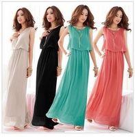 Wholesale Fashion Women Lady Bohemian Boho Maxi Dress Chiffon Long Pleated Sundress Evening Party Dress G0144