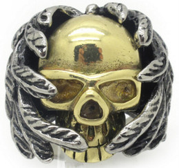 Huge Men's Stainless Steel Biker Rings Fashion Jewelry, Wholesale + Free Shipping, Top Sale Gold and Silver Leaf Skull Ring