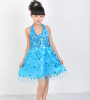 Wholesale baby girls ice and snow dresses Elsa princess cosplay dress summer sequin tube dress with big flower children dance dress pageant dress blue
