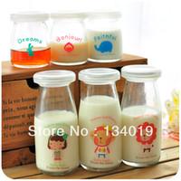 Wholesale Super cute little animals glass milk bottles lids pudding mold yogurt bottles