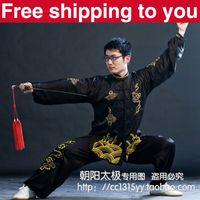 Wholesale Chinese Tai chi clothing taiji sword set wushu performance kungfu suit clouds embroidery man woman children boy girl black