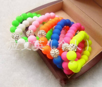 Wholesale Mixed color amp hot Neon Bracelet Fluorescent colorful Candy bead disco Shambhala ball Stretch bracelet