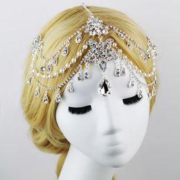 Wholesale 30 cm diamond tiara bride hair of the forehead jewelry chain wedding tiara Wedding dress accessories