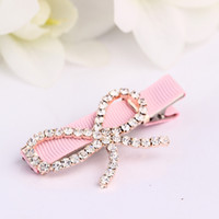 Wholesale 6pcs Metal Crystal Rhinestone Bow Tie Shaped Textile Hair Barrettes Clip For Girl Hairpins Hair Accessories Each Color One