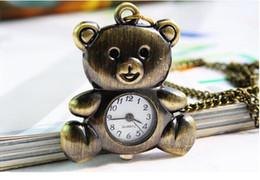 Compra Online Mujer del reloj del collar-Las nuevas mujeres pendientes del collar del oso del reloj de bolsillo del oso de la nueva manera 2015 se visten para el reloj del regalo que los relojes del cuarzo liberan el envío