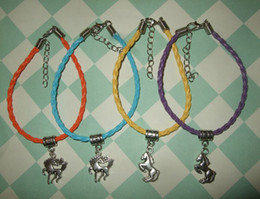 Hot ! 50 pcs Handmade Horse Bracelet with Charm Leather - Prancing Rearing Pony Stallion 15cm - 21cm 52 color