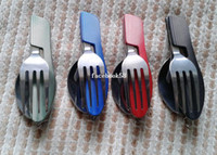 Wholesale Camping outdoor folding cutlery set with knife fork spoon cover portable for travel stainless steel picnic tableware cookware