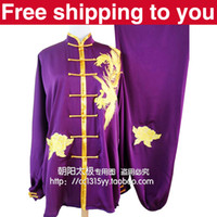 Wholesale Chinese Tai chi clothing taiji sword set wushu performance kungfu suit phoenix embroidery man woman children boy girl purple