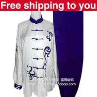 Wholesale Chinese Tai chi clothing taiji sword sets kungfu performance suit blue dragon embroidery man woman children little boy girl