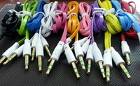 Wholesale 3 mm Male Stereo Audio Auxiliary AUX Cable Jack Male to Male for PC iPod CAR Phone Flat Noodle Cord