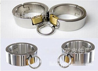 Cheap Pure Stainless Steel Handcuffs with Lock Super Heavy oval-shaped fetter shackles Heavy Manacles Bondage Gear