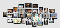 Cheap 2014 Modern 26 Pcs Black Solid Combination Wall Mounted Picture Photo Frame Wood Art Home Decor MF-961