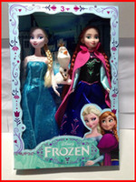 Wholesale retail new Set quot children baby girls Frozen Princesses Elsa Anna Olaf Snowman Playset dolls Toy Gift with cute box New Melee
