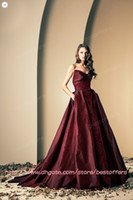 Reference Images Sweetheart Taffeta Burgundy Taffeta evening gowns with sweetheart beaded sequined bodice pocket at side A line skirt prom dresses ZN0022