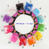 12 colors rainbow Loom Bands Wrist Bracelet (300 bands + 12 ...