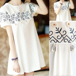 Wholesale 2014 Newest summer embroidery maternity dresses cotton