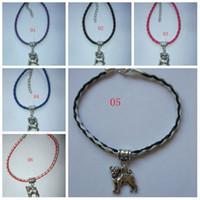 Charm Bracelets Unisex Alloy MIC 50 pcs Handmade Staffy Dog Leather Bracelet & Charm Staffordshire Bull Terrier Staffie 15cm- 21cm 52- color