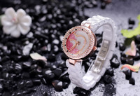 Wholesale 2014 new hot Ceramic watch white women rhinestone watches love digital wristwatches ladies rose gold luxury famous brand fashion watch