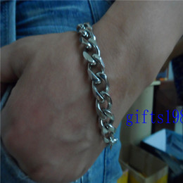 Men's Stainless Steel Bracelet 3D polyhedral large cowboy chain Classic style Rock music jewelry