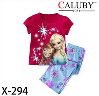 Cheap 2015 froze baby girls clothing sets children kids summer pajamas child Anna Elsa princess clothes for 2-7T