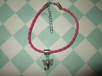 Charm Bracelets african elephant bracelet - MIC Handmade Elephant Leather Bracelet with Charm Dark Pink African Animals Head cm z202