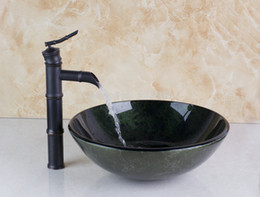 Wholesale Fashion Artistic Wash Basin Counter Hand Paint Color Washbasin Tempered Glass Sink Brass MF Sink Mixer Tap Faucet Basin