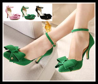 Wholesale 2014 summer Pointed Toe D Orsay shoes with bowtie sweet women high heel shoes ankle strappy stiletto heel sandals colors