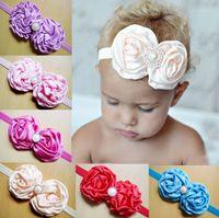 Cheap Headbands baby hair ornament Best ribbon Solid baby big flower headband