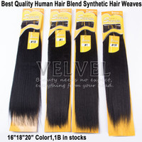 Wholesale 1PC quot quot quot Color1 B SERENA Yaki Wave Human Hair Blend Synthetic Hair Extension Best Blend Hair Weaves Hair Weft