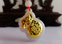 Wholesale k gold jadeite pendant Grade A Jadeite natural jade Handstand Fu Blessed bag for mother wife lover mean peace safe Gold and jade