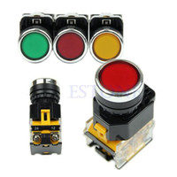 D6843 Plastic, Metal, Electrical Parts Red / Yellow / Green Push Button Momentary Press Switch Heavy Duty Power LA38-11 203
