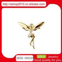 Cheap Girls clothing accessories factory direct supply Fashion pendant diamond brooch pin wholesale titanium steel fairies