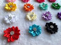 al por mayor la cinta del rhinestone para la ropa-mezcle 16 colores para niños de 4 cm 2 capas flores Cinta de la flor del Rhinestone de la poligonal de la cinta DIY accesorios de bebé con las flores Ropa Accesorios