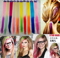 Wholesale Fashion long straight hair pieces ombre color colorful Synthetic hair extensions hair clip decoration hairband hair jewelry colors