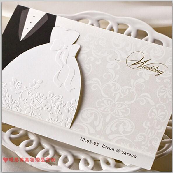 New Personalized Design White The Bride And Groom Dress Style Invitation  Card Wedding Invitations Envelopes Sealed Card Top Quality