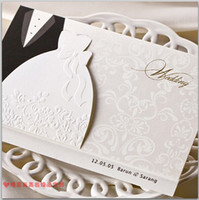Wholesale New Personalized Design White The Bride and Groom Dress Style Invitation Card Wedding Invitations Envelopes Sealed Card Top Quality