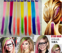 Wholesale Newest women long straight hair pieces ombre color colorful Synthetic hair extensions hair clip decoration hairband girl hair jewelry gifts