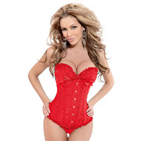 plus size corset - Sexy Plus Size Corset Red Underwear Women Wedding Dress Bustier Lingerie Corselet G string S001